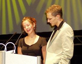 Die Redner: Julia Griebenow und Steven Lange